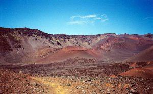 The crater basin at the summit of Haleakalā.