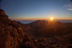 Sunrise over the Haleakalā crater.