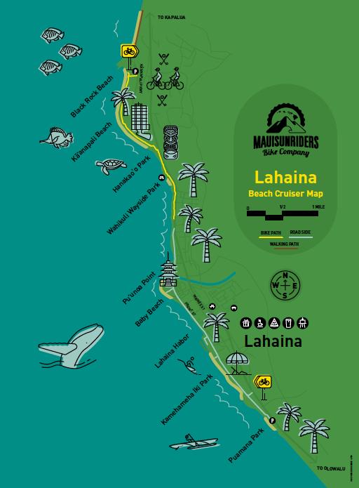 Lahaina Bike Route Map - Maui Sunriders Bike Co.