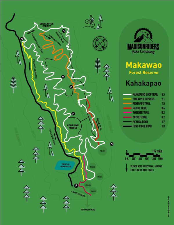 Makawao Forest Maui Mountain Bike Map